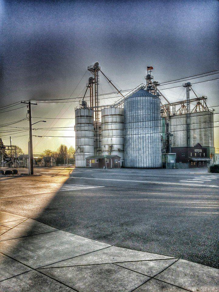 sunrise behind granary - credit Brian Rockwell