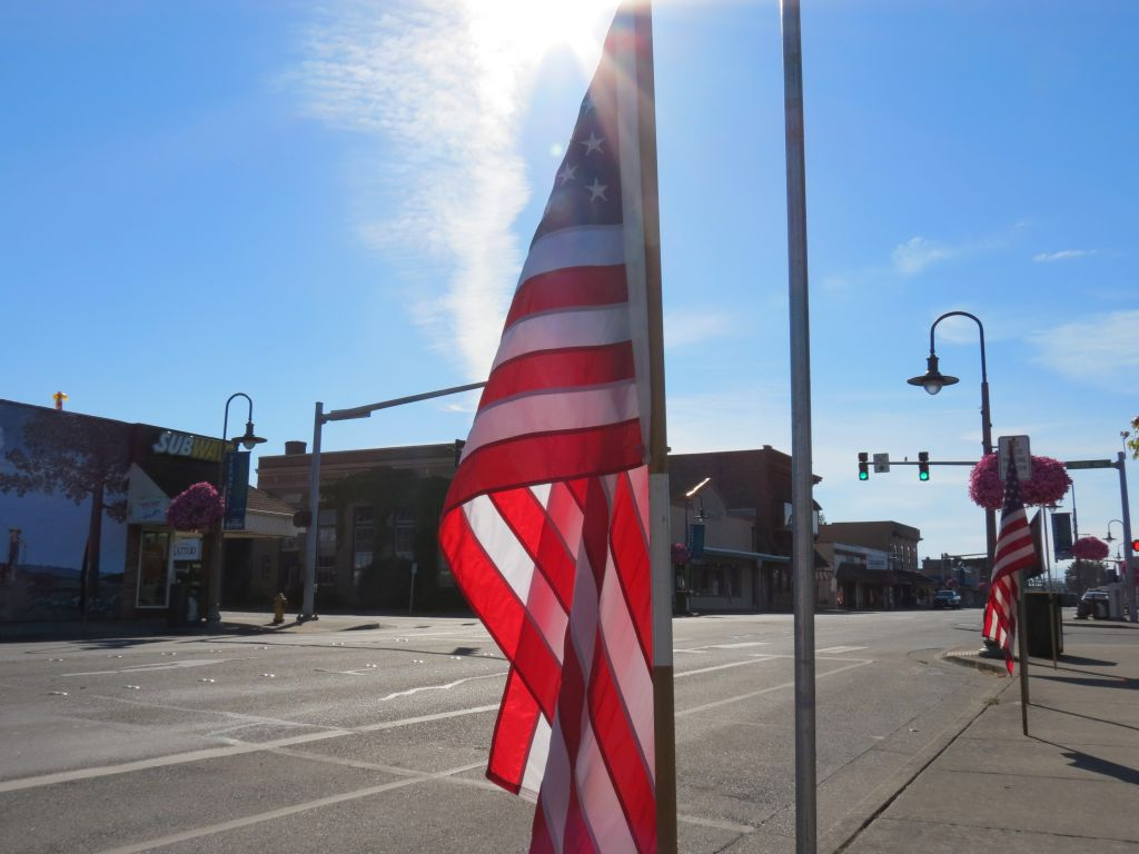 Ferndale Kiwanis line Main Street with ~150 American flags to mark Independence Day and other federally observed holidays (July 4, 2017). Photo: My Ferndale News
