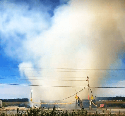 Screencap from a video taken at the scene of a grass fire near a fireworks stand on Haxton way (July 5, 2018) Courtesy MFN reader, Shawn Graham.