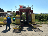 workers prepare the automated picking machine to head out into the blueberries at eastview blueberry farm 2 2018-07-25