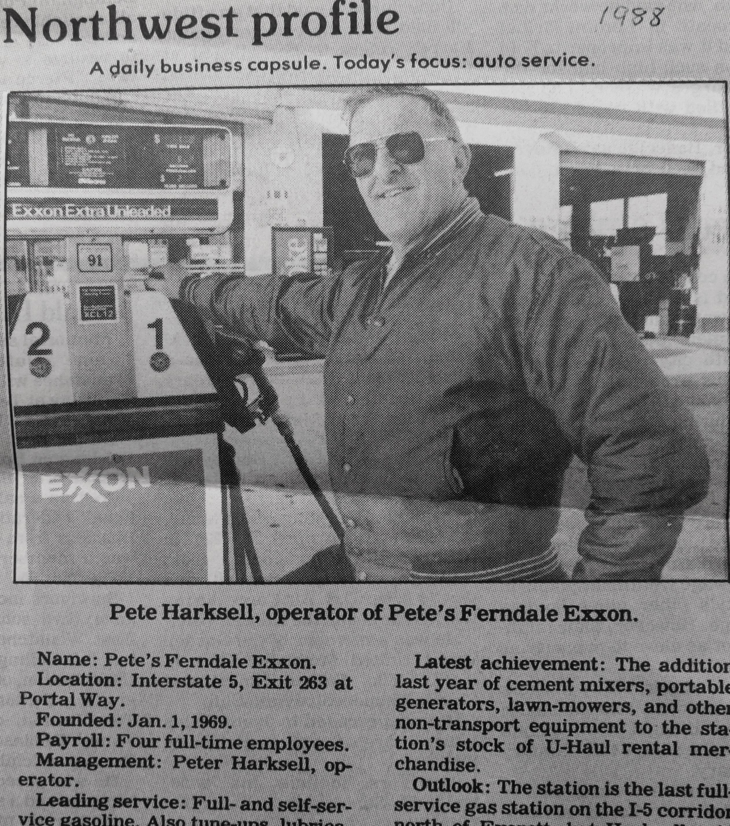 1988 newspaper clipping of a business feature about Pete's Ferndale Exxon. courtesy of Pete, Jr. and Nita Harksell