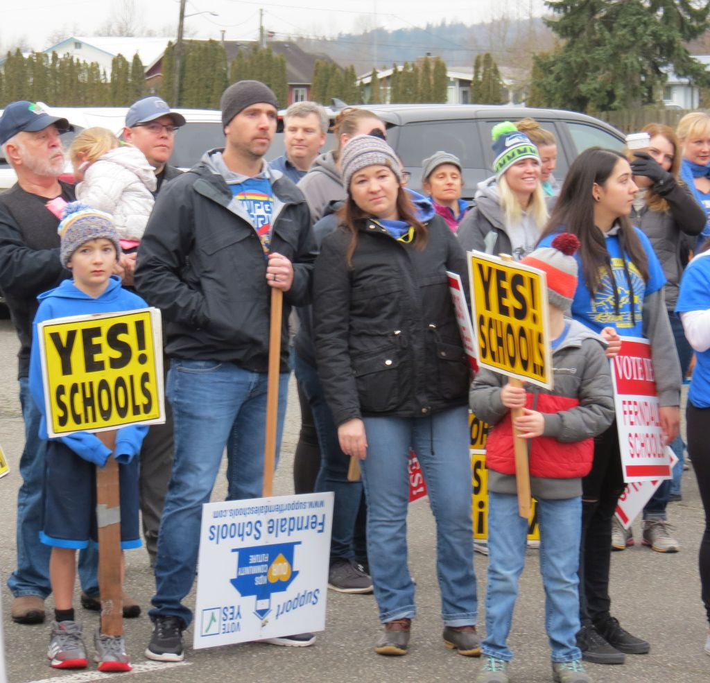 Supporters listen to speakers at a School bond proposal support rally at Pioneer Park (January 26, 2019). Photo: My Ferndale News