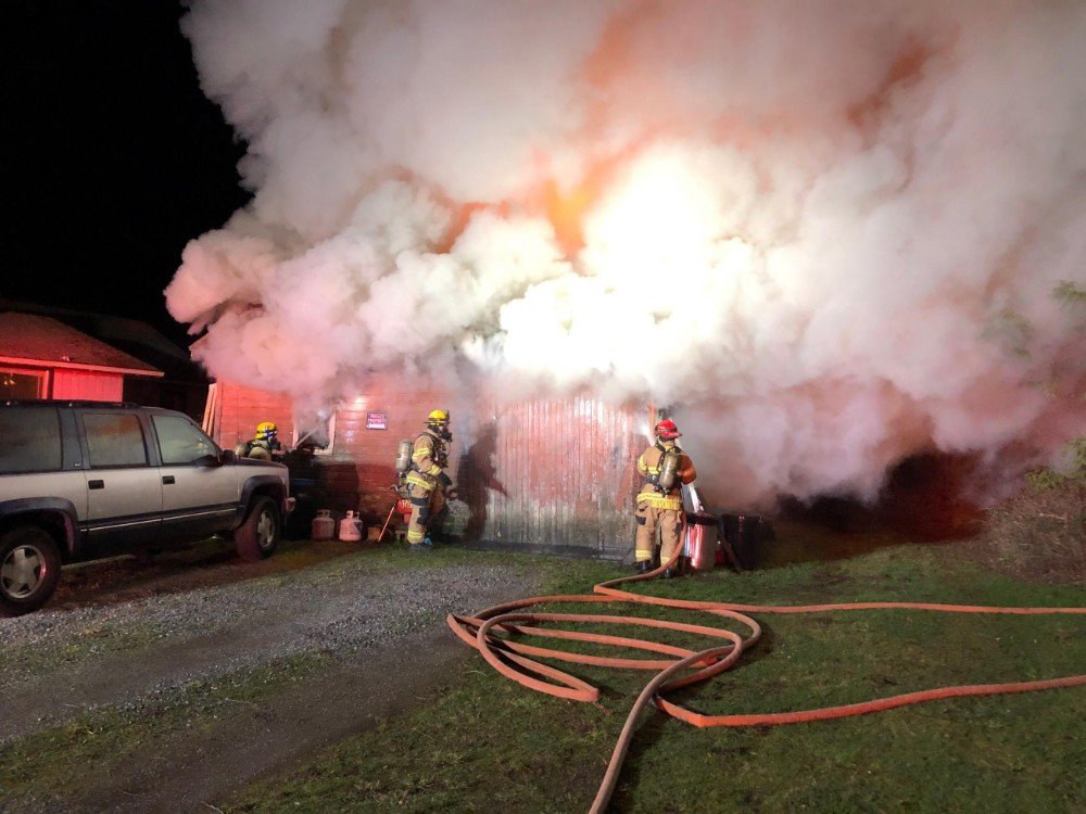 Scene of a garage fire on Portal Way (January 12, 2019). Photo courtesy of WCFD7
