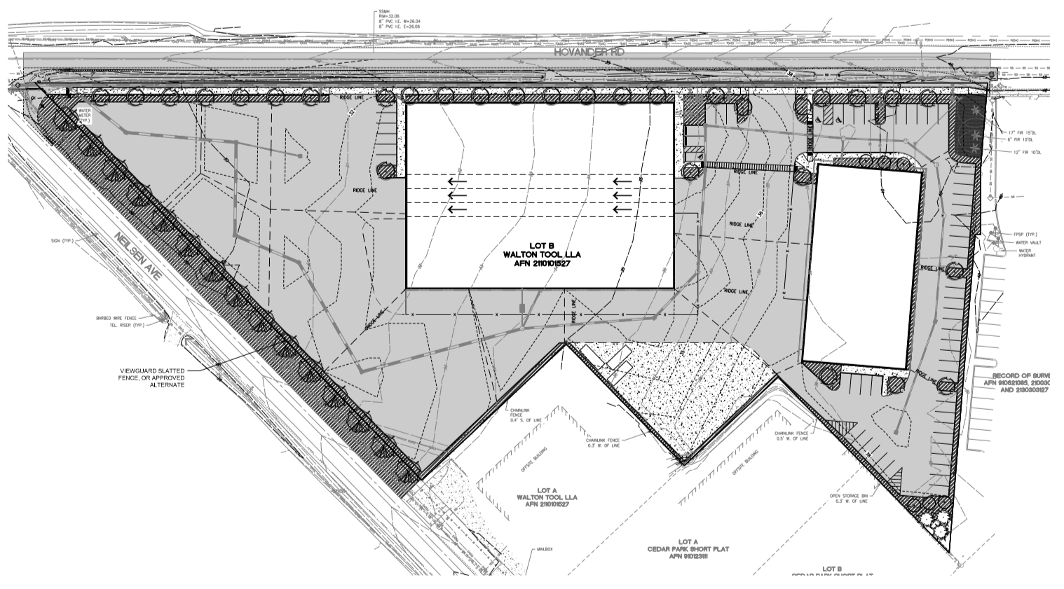 Northwest Fence preliminary landscape plan showing the locations of 2 proposed buildings on the property on the southeast corner of Hovander and Nielsen Roads (June 14, 2018). Source: City of Ferndale