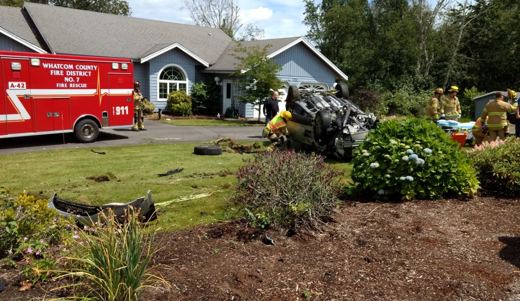 Scene of a rollover crash in a resident's front yard on Vista Drive near Olson Road (June 24, 2019). Photo: My Ferndale News