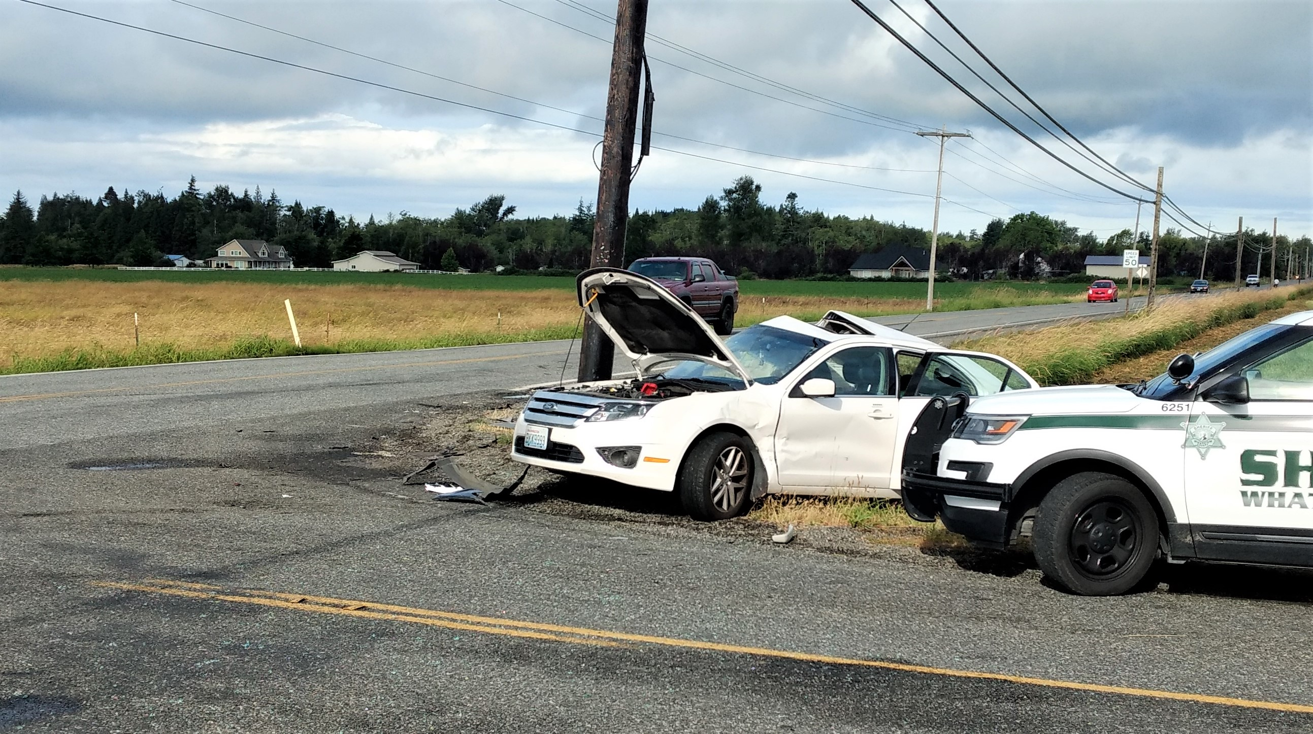 1 of 2 vehicles involved in a t-bone crash at the intersection of Olson and Mountain View Roads (June 28, 2019). Photo: My Ferndale News