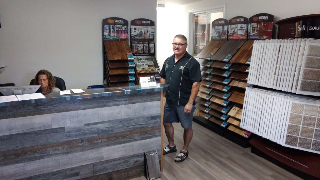 Glenn McAlpine and Michelle in The Floor Store's showroom at Grandview Business Park (July 26, 2019). Photo: My Ferndale News