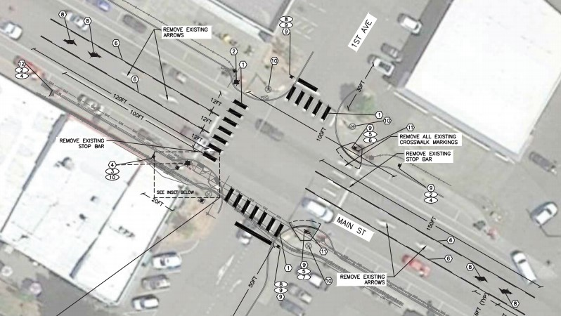 Project diagram for safety improvements at 1st Avenue and Main Street (June 11, 2019). Source: City of Ferndale