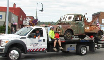 """Heston Hauling's version of Tow Mater, a character from the animated movie, """"Cars"""" seen participating in the 2019 Pioneer Picnic Grand Parade (July 27, 2019). Photo: My Ferndale News"""