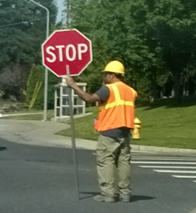 Traffic control flagger - file photo