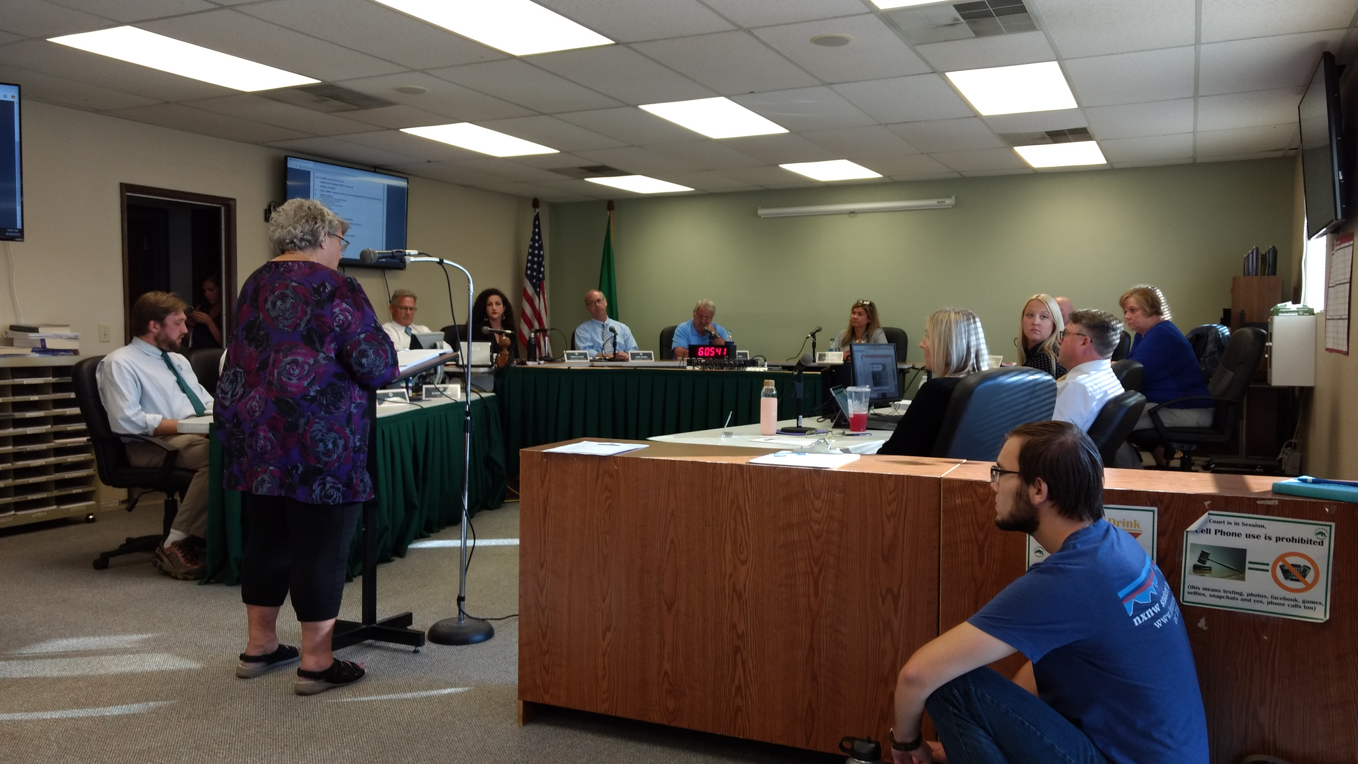 Yvonne Goldsmith addresses the Ferndale City Council with an ethics complaint about Mayor Jon Mutchler (August 19, 2019). Photo: My Ferndale News