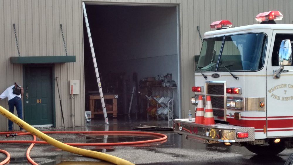 Scene of a fire in a unit at the Grandview Business Park (September 5, 2019). Photo: My Ferndale News