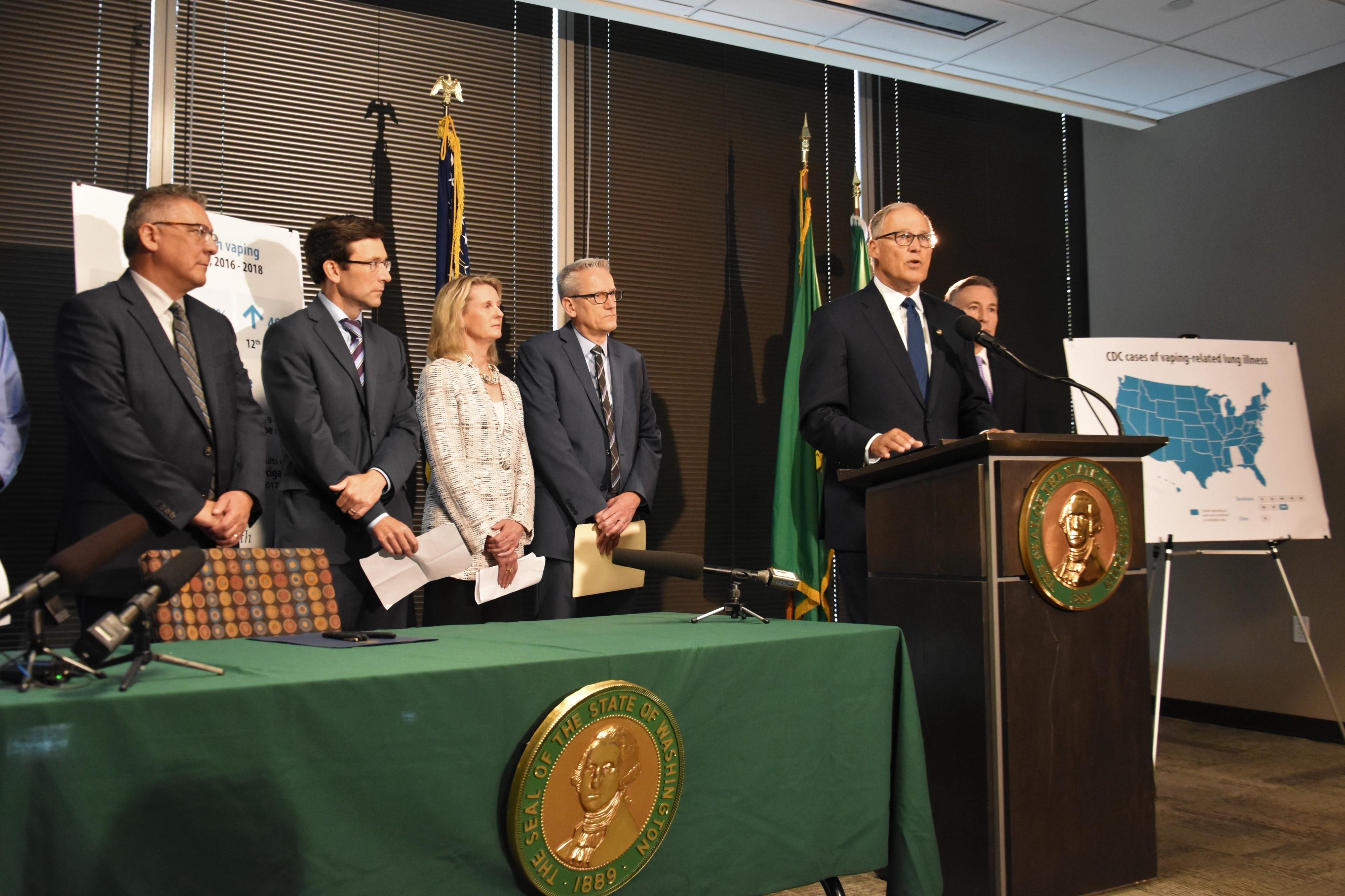 seattle press conference gov inslee 2019-09-27 exec order ban vape flavors photo offc of gov