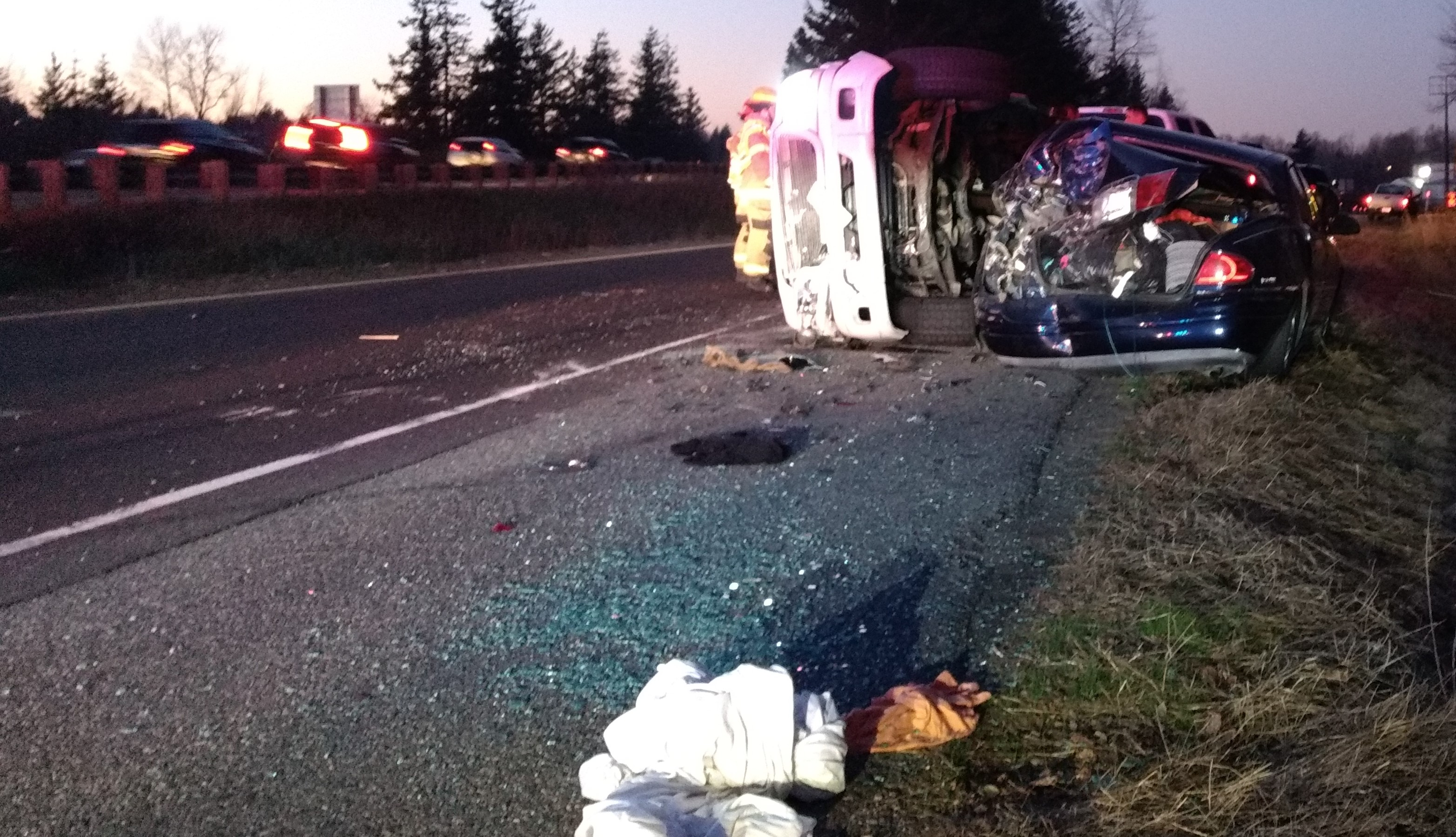 Scene of a 2-vehicle rollover crash on the southbound I-5 off-ramp at Portal Way (November 29, 2019). Photo: My Ferndale News