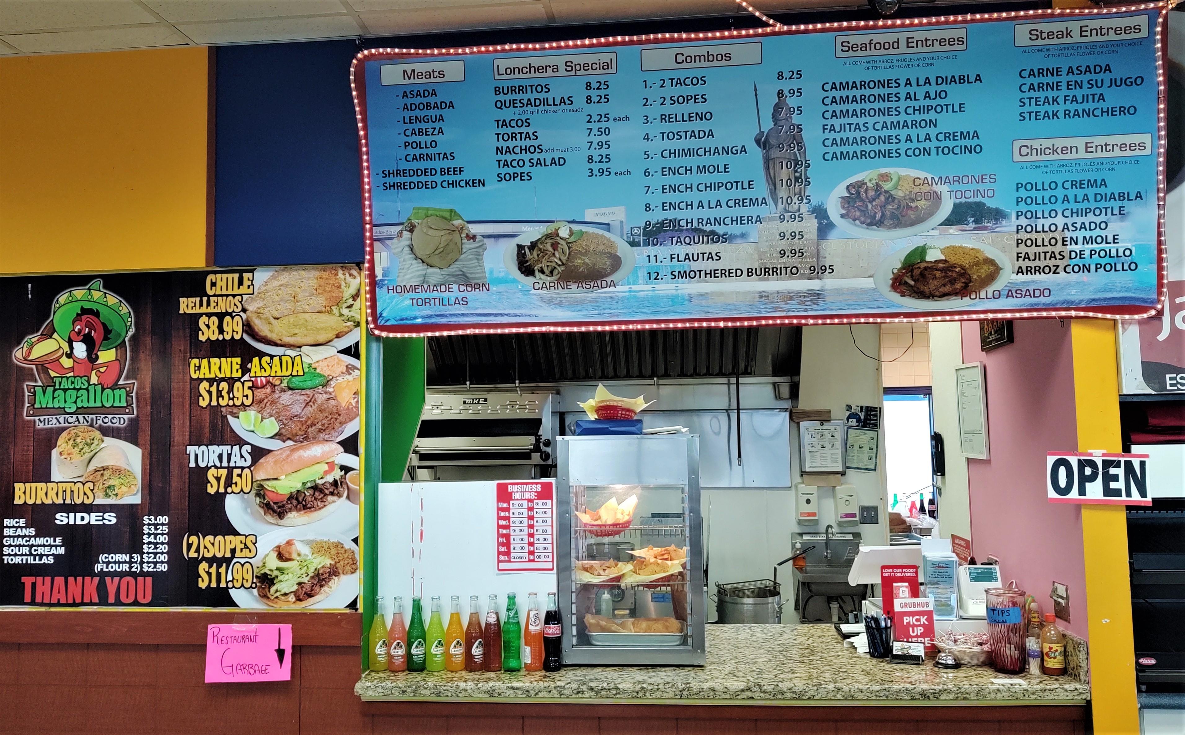 Service counter and menu Board inside Tacos Guadalajara (January 20, 2020). Photo: My Ferndale News