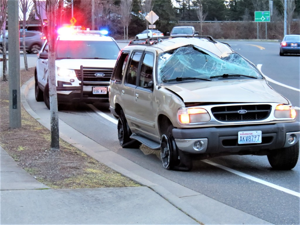 Damaged vehicle on Portal Way after being driven from a rollover crash scene (November 27, 2019). Photo: My Ferndale News