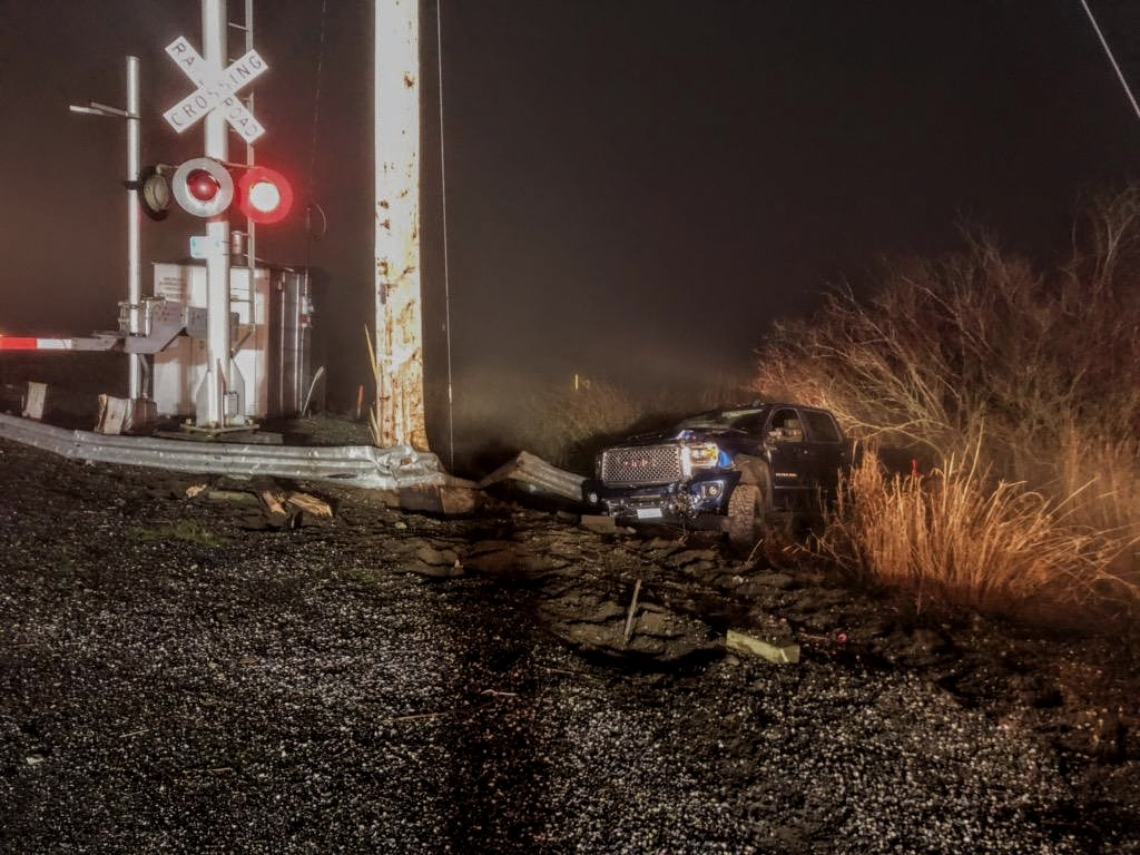 Scene of a 1-car crash at Hovander Road and the BNSF RR crossing (December 10, 2019). Photo courtesy of WCFD7