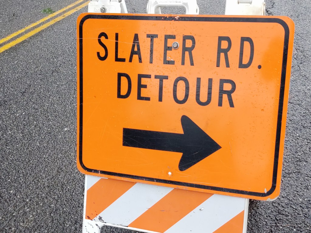 My Ferndale News file photo - Slater Road detour sign
