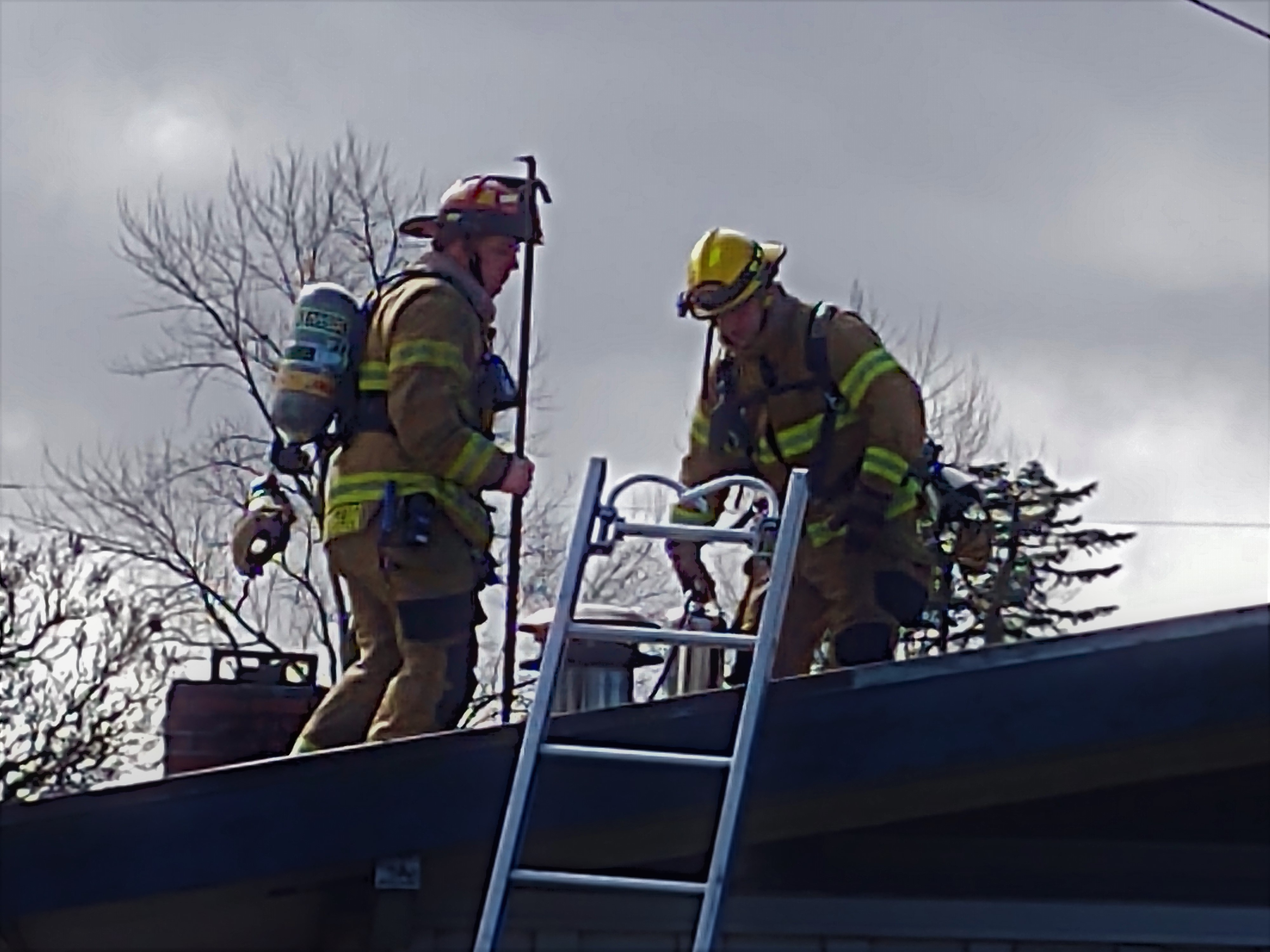 Whatcom County Fire District 7 firefighters deal with a chimney fire at a residence (March 6, 2020). Photo: My Ferndale News