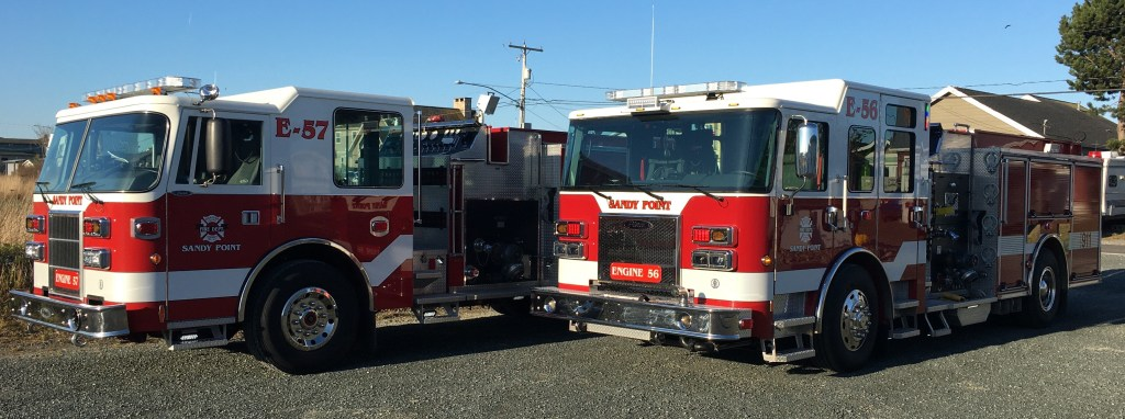 Whatcom County Fire District 17 fire engines, 1 refurbished (E-57) and 1 new (E-56) (April 19, 2020). Photo courtesy of WCFD17