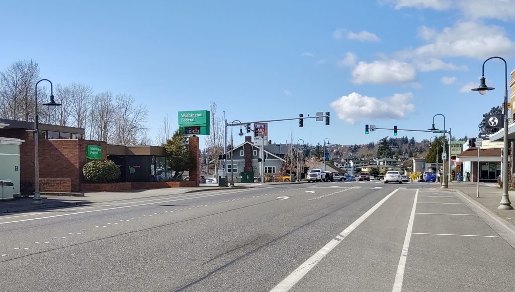 Nearly empty Main Street through downtown Ferndale on a Wednesday at 2:45pm during the stay at home order during the COVID-19 crisis (March 25, 2020). Photo: My Ferndale News