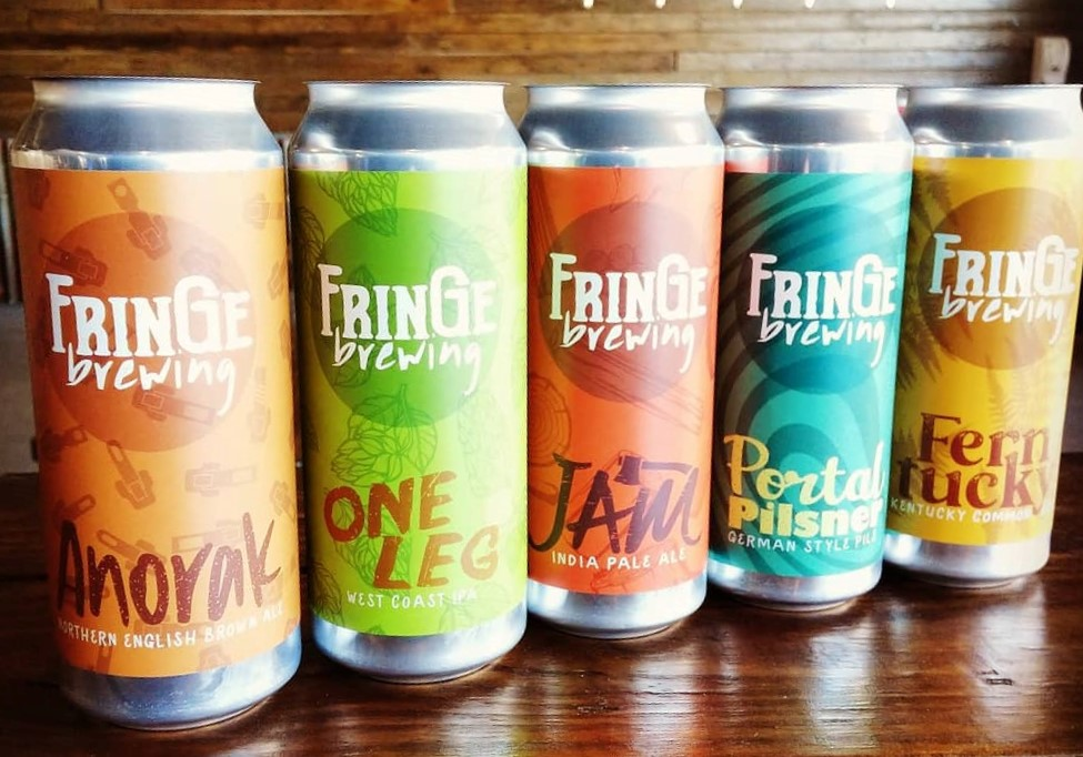 Canned beers from FrinGe Brewing (March 2020). Photo courtesy of FrinGe Brewing