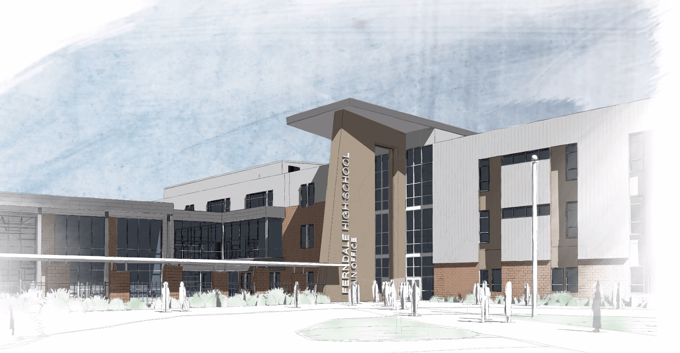 Preliminary design rendering of the proposed Ferndale High School replacement buildings (May 26, 2020). Source: Dykeman Architects