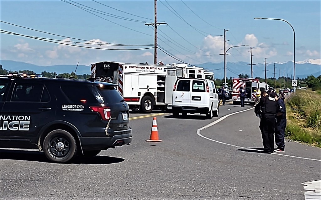 Scene of a car vs bicycle collision at Slater and Ferndale Roads (June 18, 2020). Photo: My Ferndale News