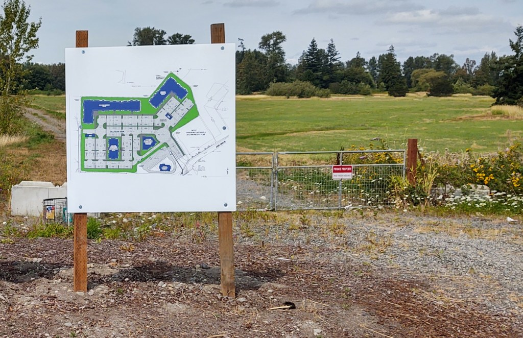 Sign showing the preliminary landscape plan for Riverplace Development posted at the site (August 11, 2020). Photo: My Ferndale News