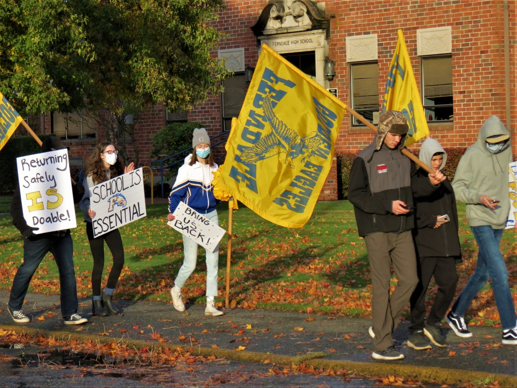 Students marched from Ferndale High School to downtown Ferndale ask for a quick return to in-person classes (November 13, 2020). Photo: My Ferndale News