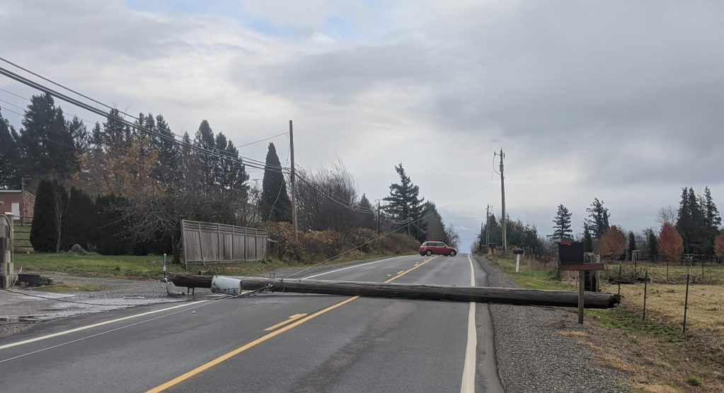 1 of the 2 downed power poles lies across Mountain View Road after falling during a windstorm with gusts over 50mph (November 17, 2020). Photo courtesy of Tatiana Stone