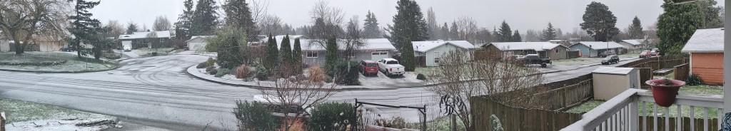 Panorama of the Sunshine Drive neighborhood during the first snowfall of winter 2020 (December 21, 2020). Photo courtesy of B. Orth-Sheridan.