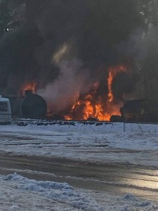 Derailed train on fire in the vicinity of Custer (December 22, 2020). Photo courtesy of Tony Jefferson