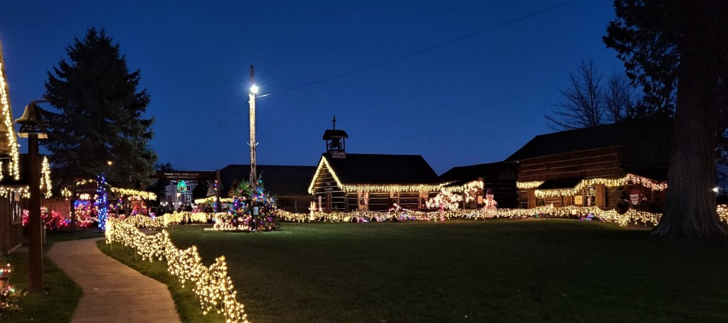 Pioneer Park lighted cabins during the Lighted Christmas Stroll event (December 2020). Photo: James Greenke