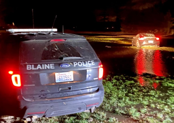 Scene of the end of a pursuit by law enforcement on Conifer Drive (January 13, 2021). Photo: Blaine Police via Facebook