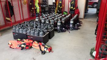 New SCBA apparatus along with additional tanks and RIT packs (March 2021). Photo courtesy of WCFD14