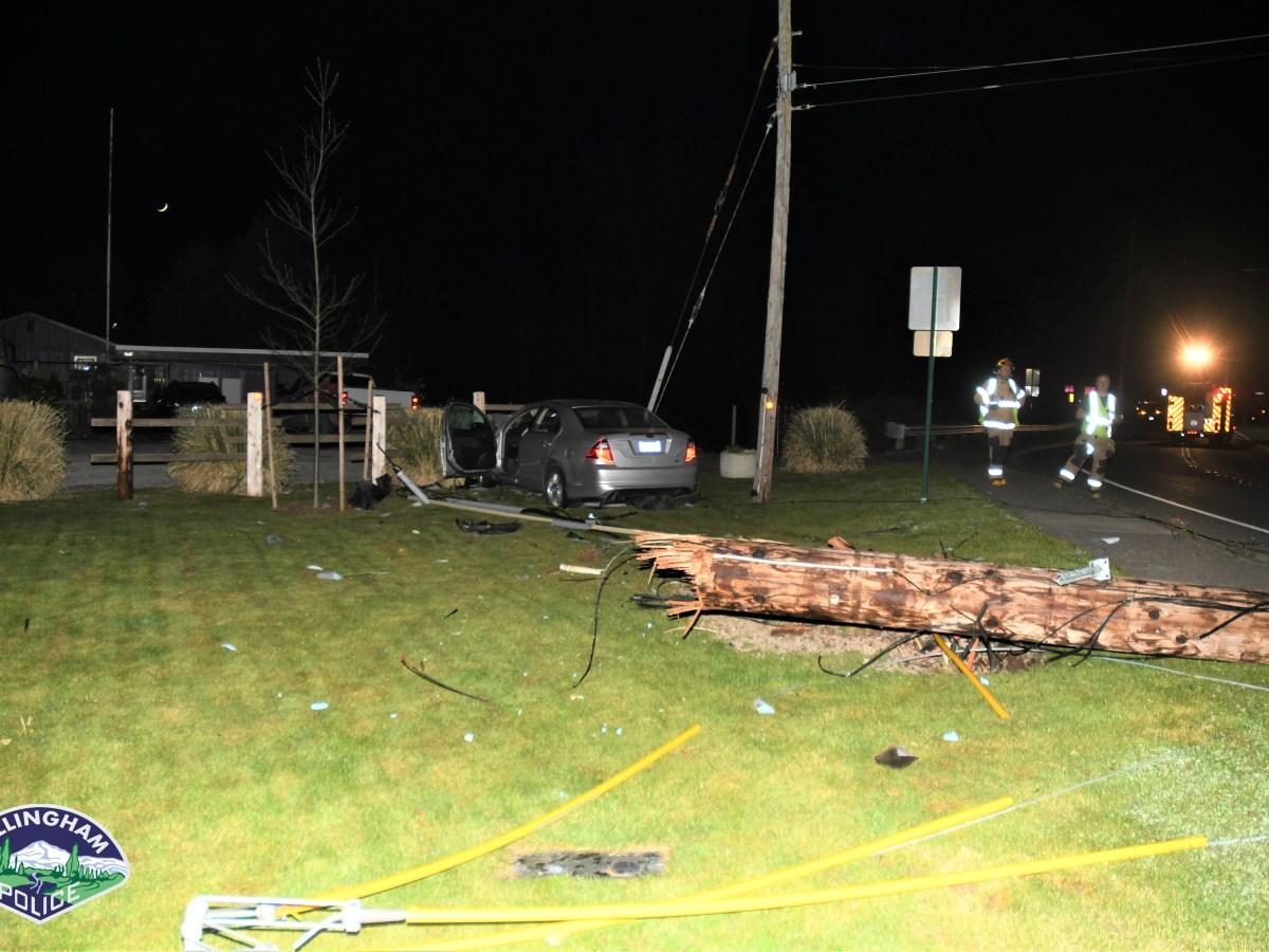 Scene of a car vs pole crash on Eldridge Avenue (April 15, 2021). Photo courtesy of Bellingham Police