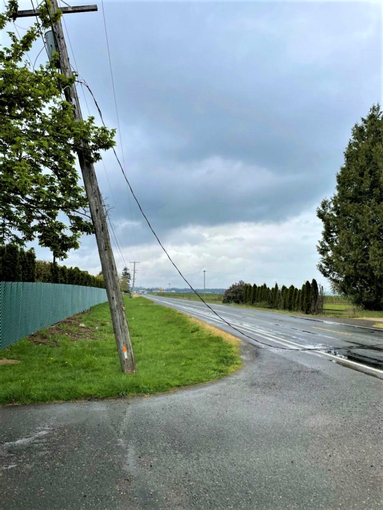 Downed power lines responsible for Badger Road closure (April 24, 2021). Photo courtesy of WSP