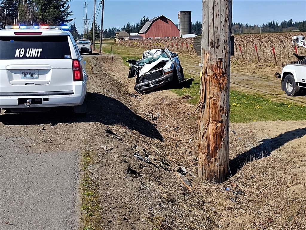 Scene of a single-vehicle rollover crash on Birch Bay-Lynden Road (April 13, 2021). Photo: Whatcom News