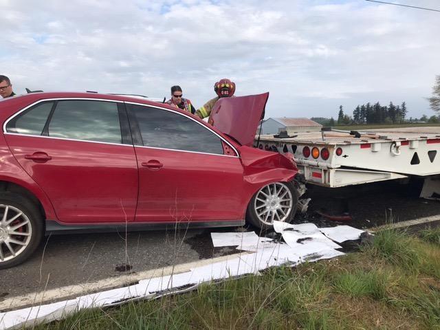 Scene of a crash in Everson (April 23, 2021). Photo courtesy of WSP