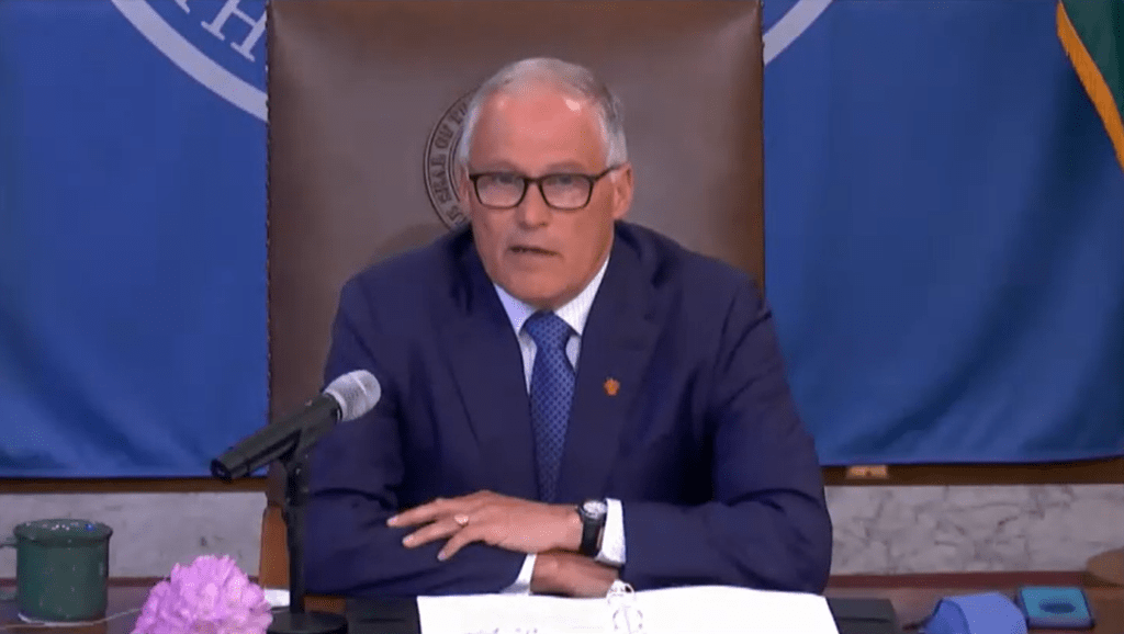Washington State Governor Jay Inslee during a televised press conference (May 13, 2021). Source: TVW