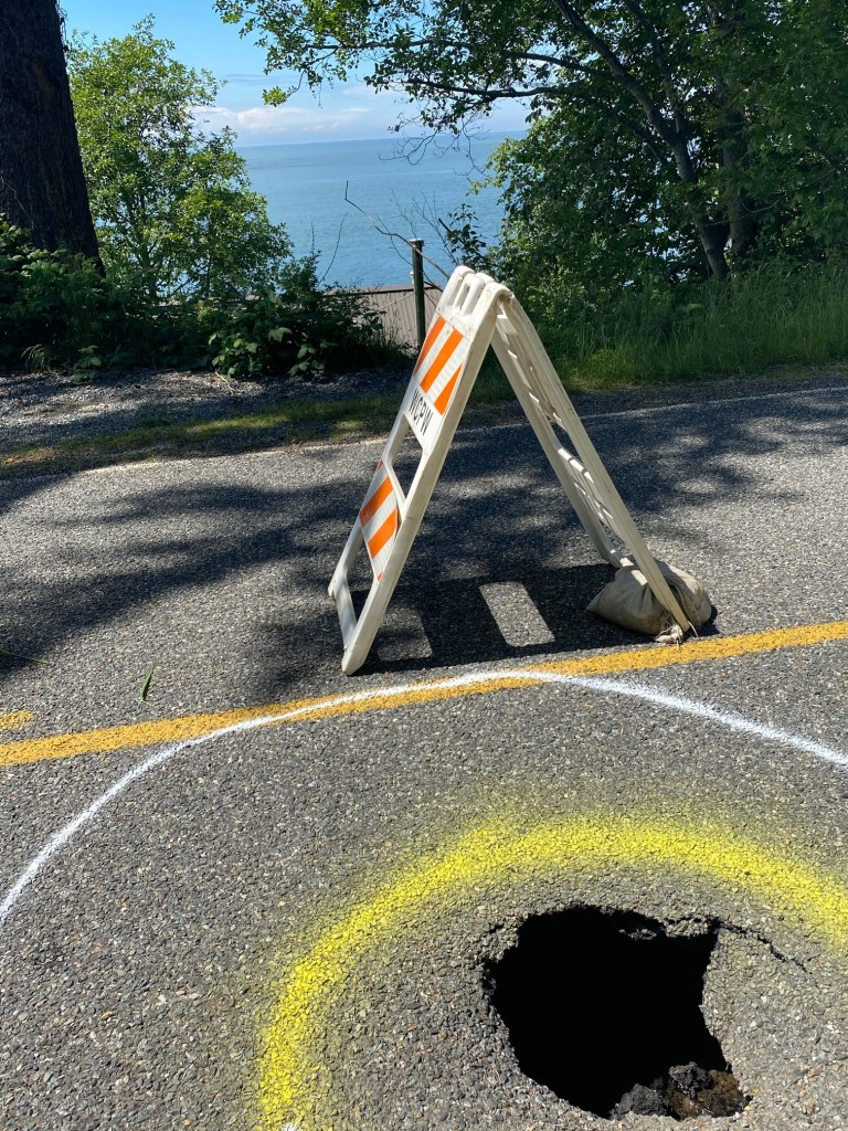 Sinkhole on West Shore Drive (May 25, 2021). Photo courtesy of Mike McKenzie