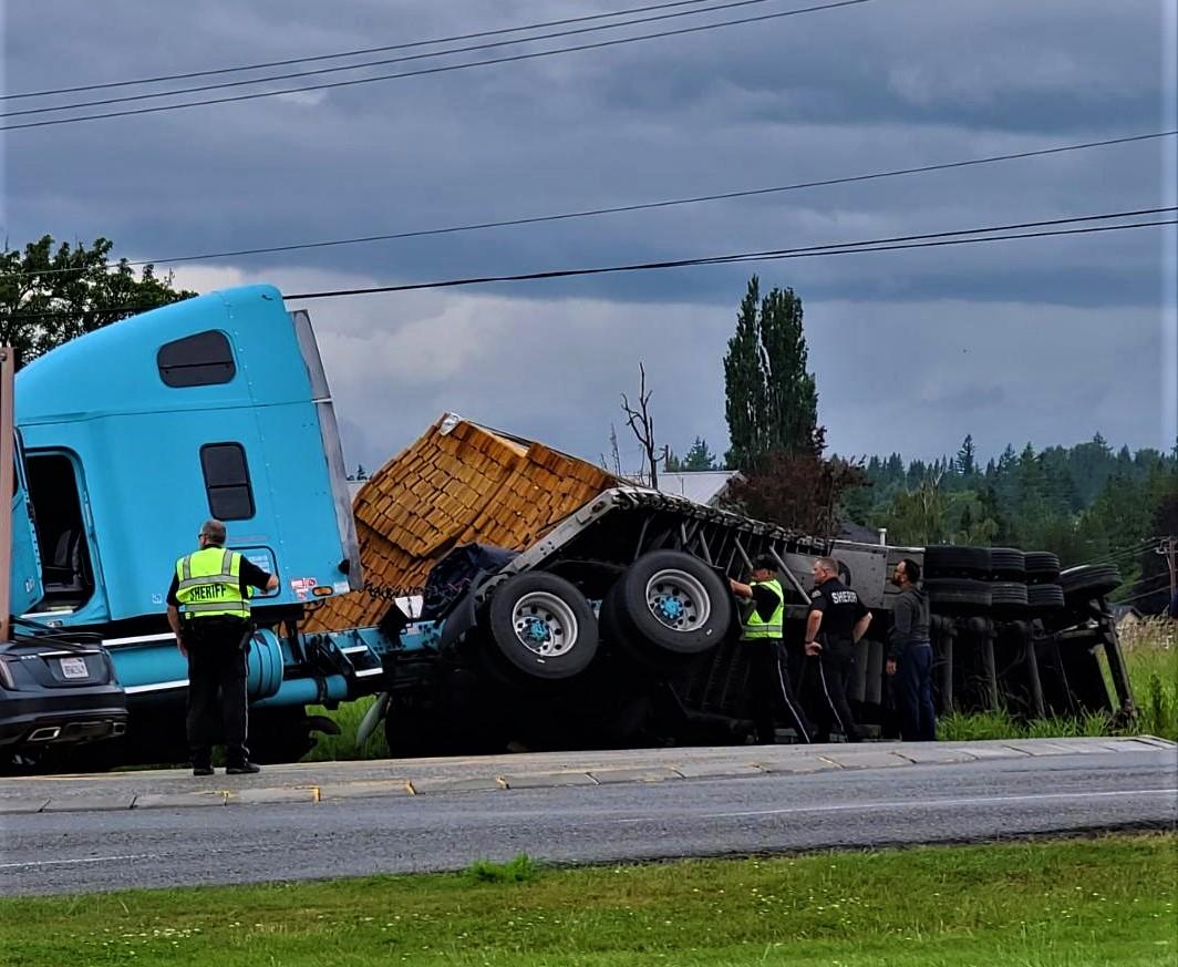 Overturned semi-truck on Slater Road (June 14, 2021). Photo: Rob S.