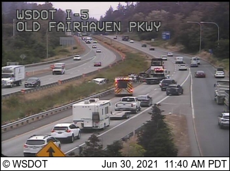 Scene of rollover crash on I-5 north of the Old Fairhaven Parkway interchange (June 30, 2021). Photo: WSDOT