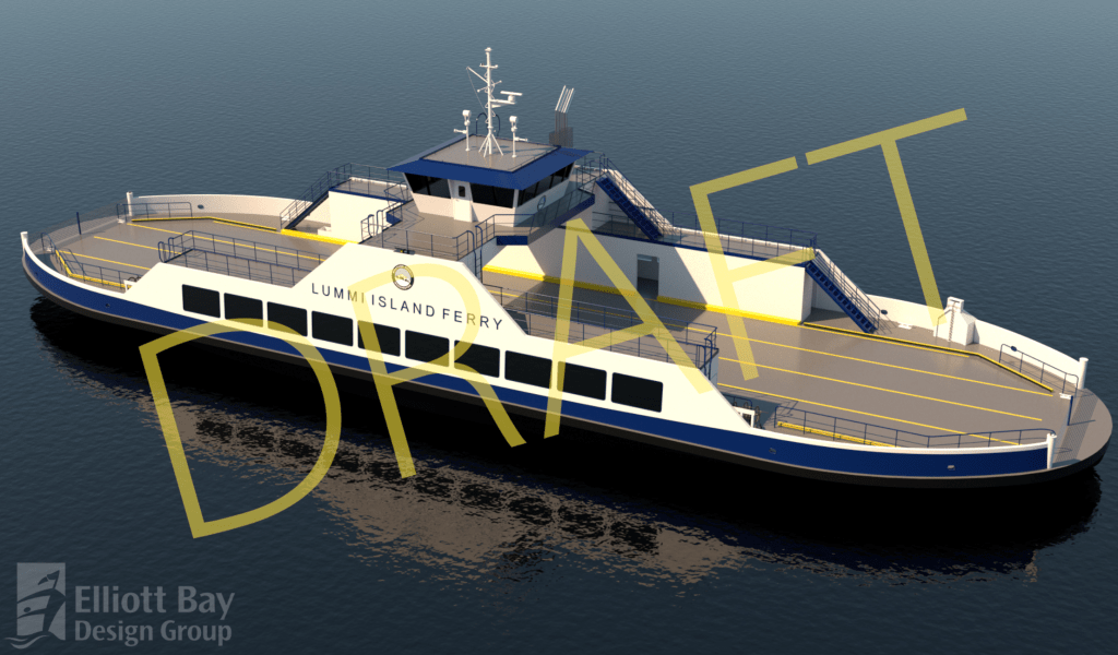 Rendering of draft design for new Lummi Island ferry. Source: Whatcom County Public Works