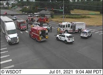 Scene of a 2-vehicle crash at Axton Road and Guide Meridian (July 1, 2021). Photo: WSDOT