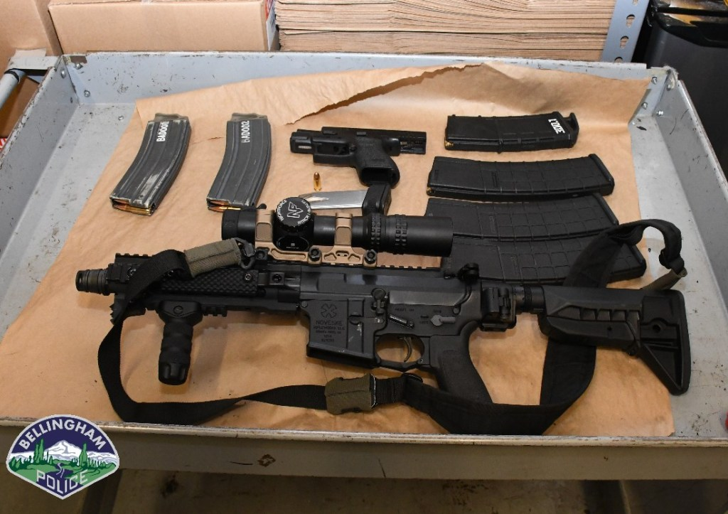 Evidence located after serving a search warrant on a SUV thought to have been involved in a drive-by shooting in Bellingham. Source: Bellingham Police