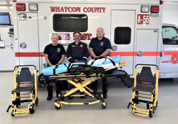 (left to right) WCFD17 firefighter Val Klepac, Phillips 66 Fire Chief Bill Rinesmith, WCFD17 Fire Chief Jim Petrie (August 2021). Photo courtesy of WCFD17