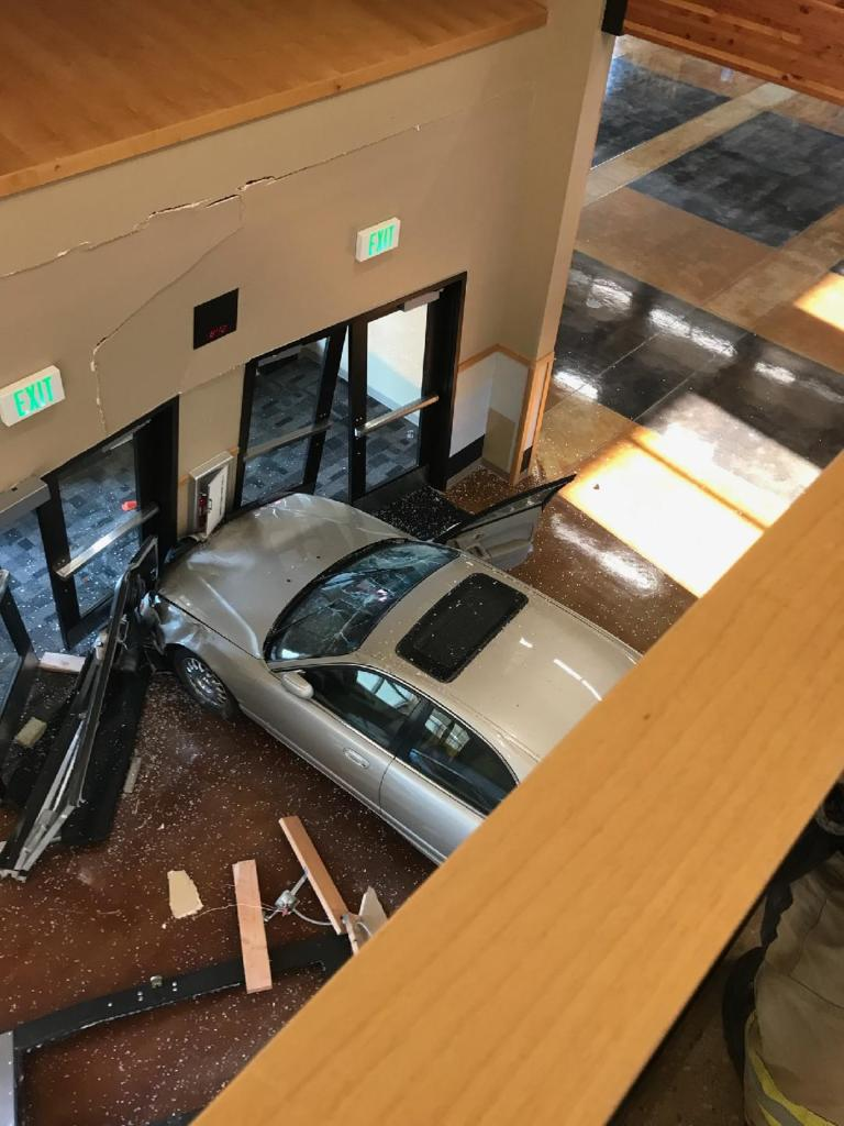 The scene after a car drove into a building on the Meridian High School campus (August 12, 2021). Photo courtesy of NWFR