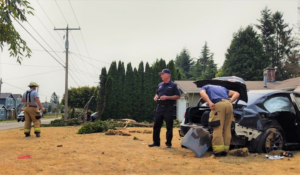 Scene of a rollover crash in Ferndale at Malloy Avenue and Thornton Street (August 14, 2021). Photo: Whatcom News
